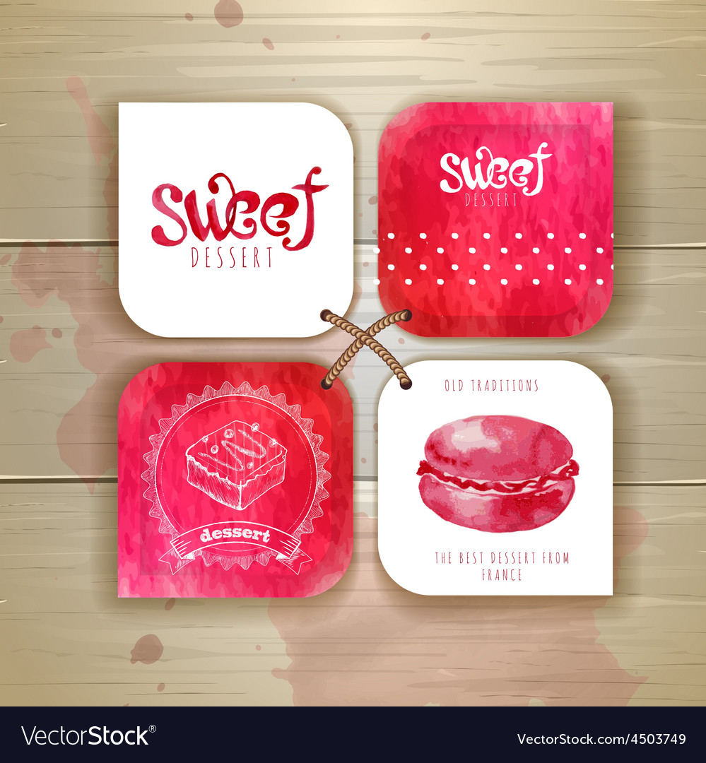 Set of sweet or dessert stickers vector