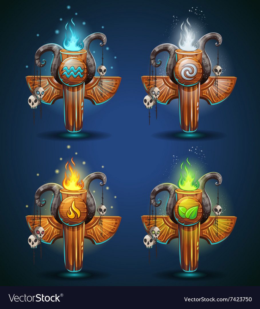 Set shaman totems  symbols of the four elements vector