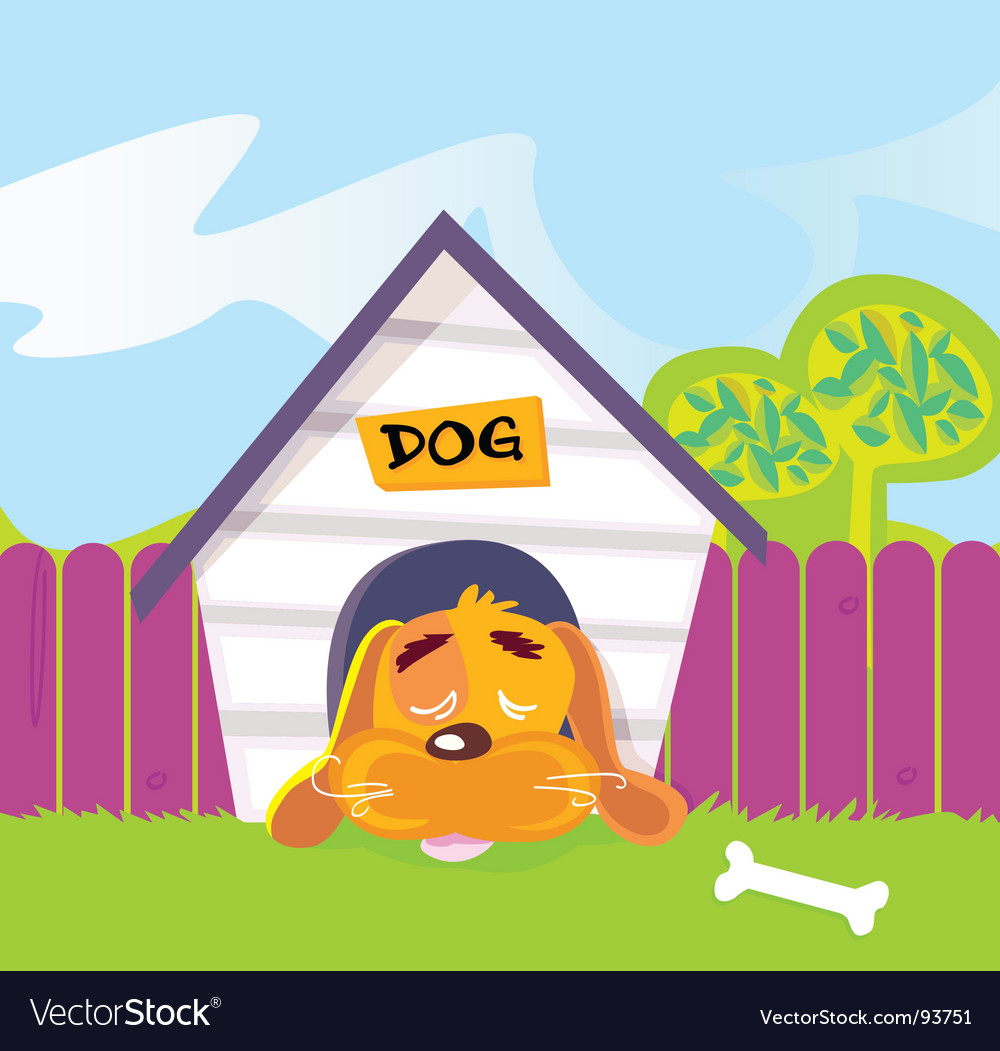 Dog sleeping in dog house vector