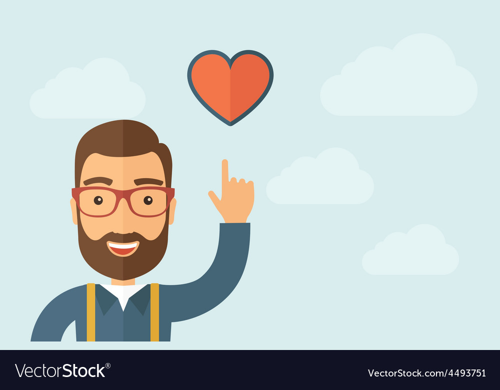 Man pointing the heart icon vector