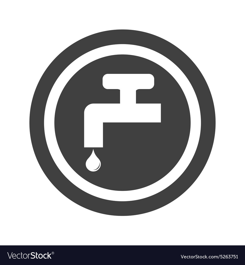 Round black water tap sign vector