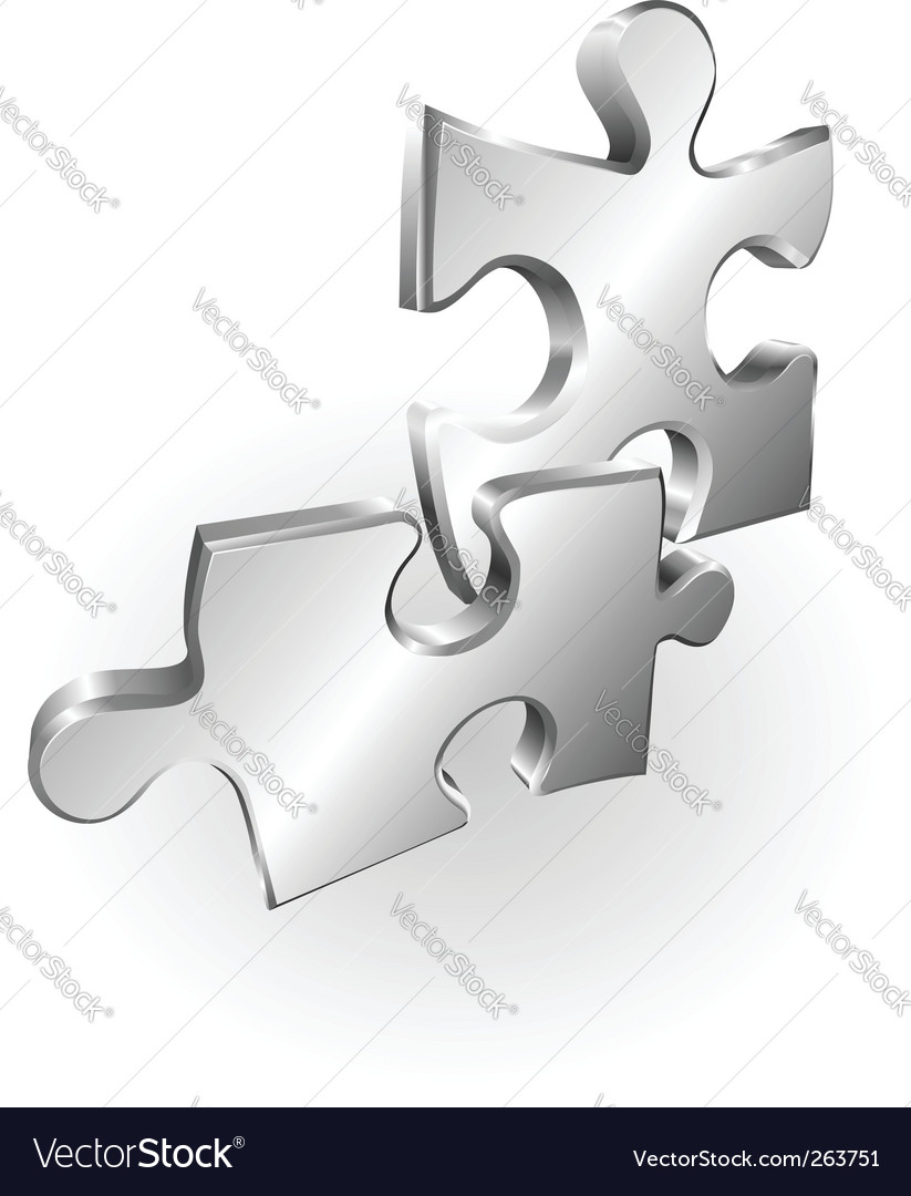 Silver metallic jigsaw pieces vector