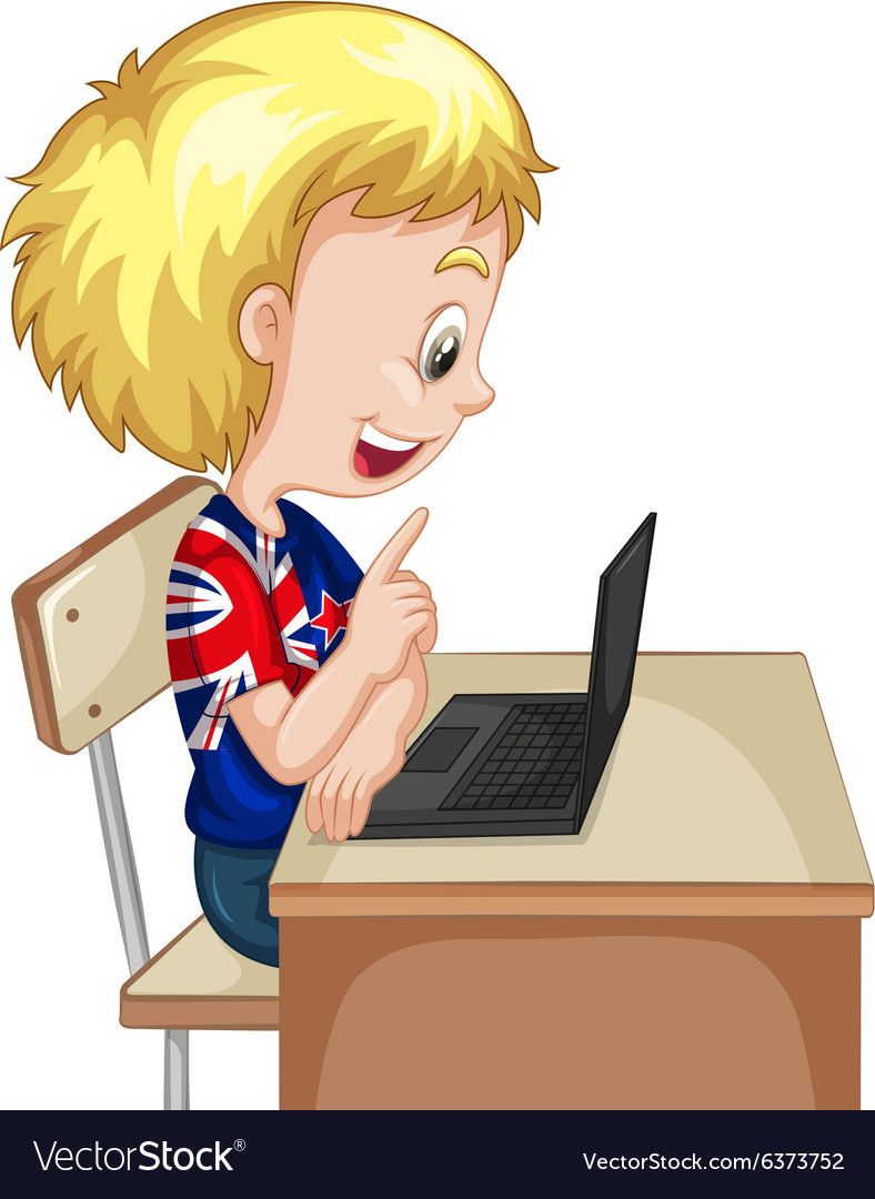 Little boy working on computer laptop vector