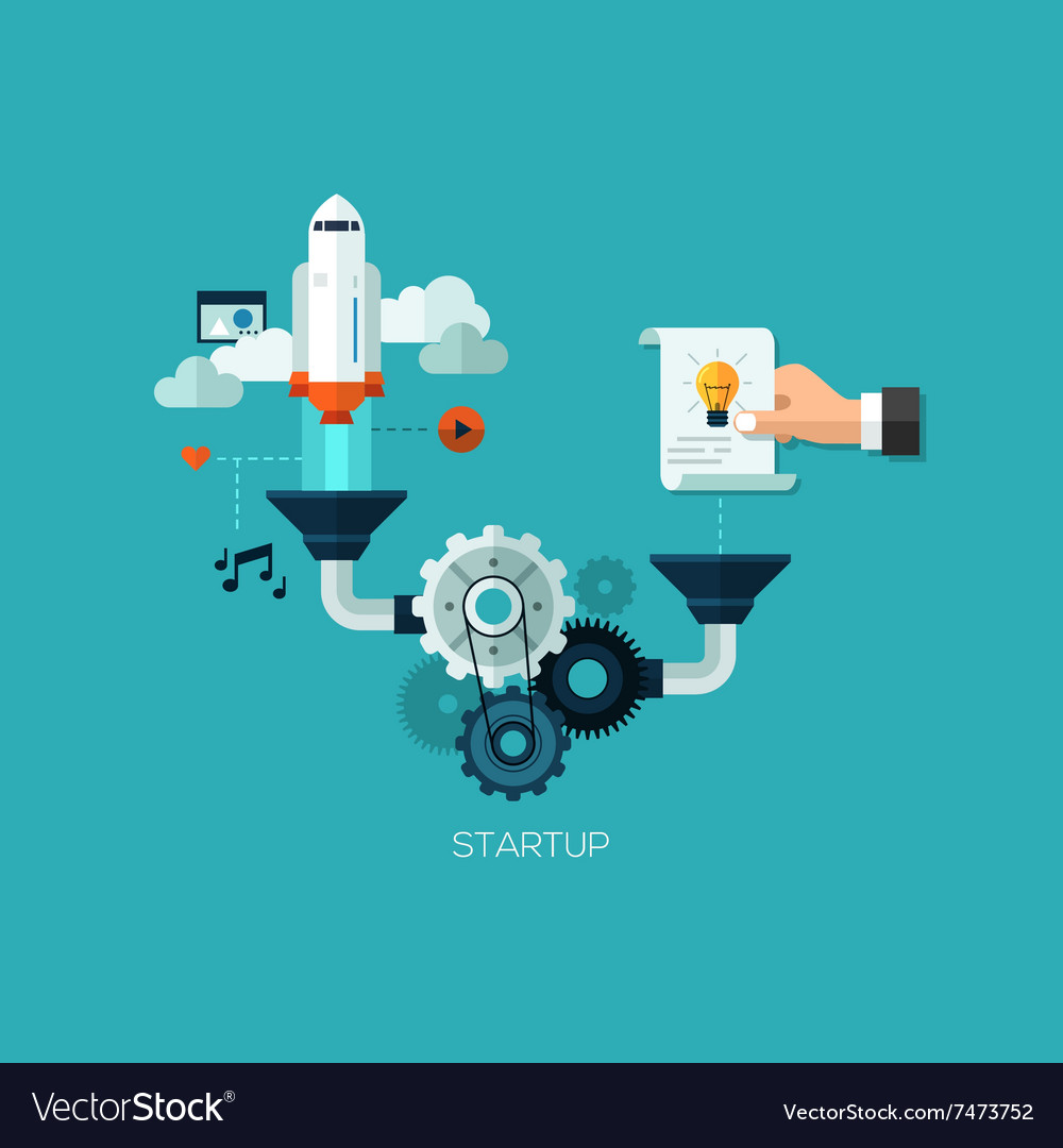 Startup launching process flat web infographic vector