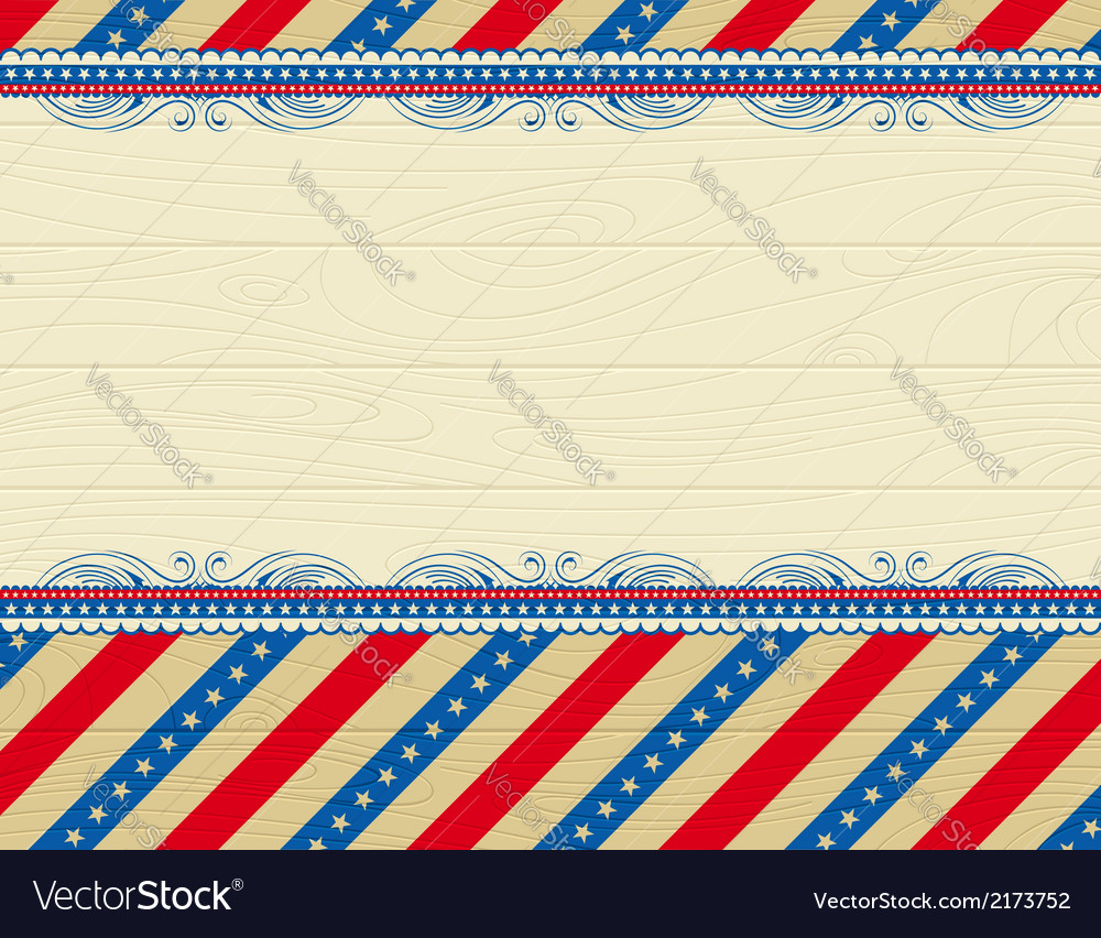 Wooden usa background with stars and decorative fr vector