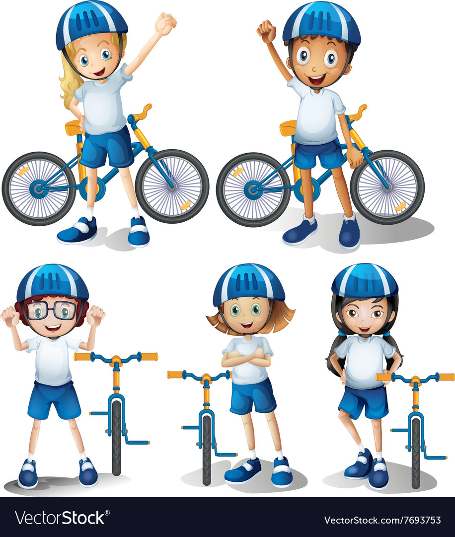 Boys and girls riding bicycle vector