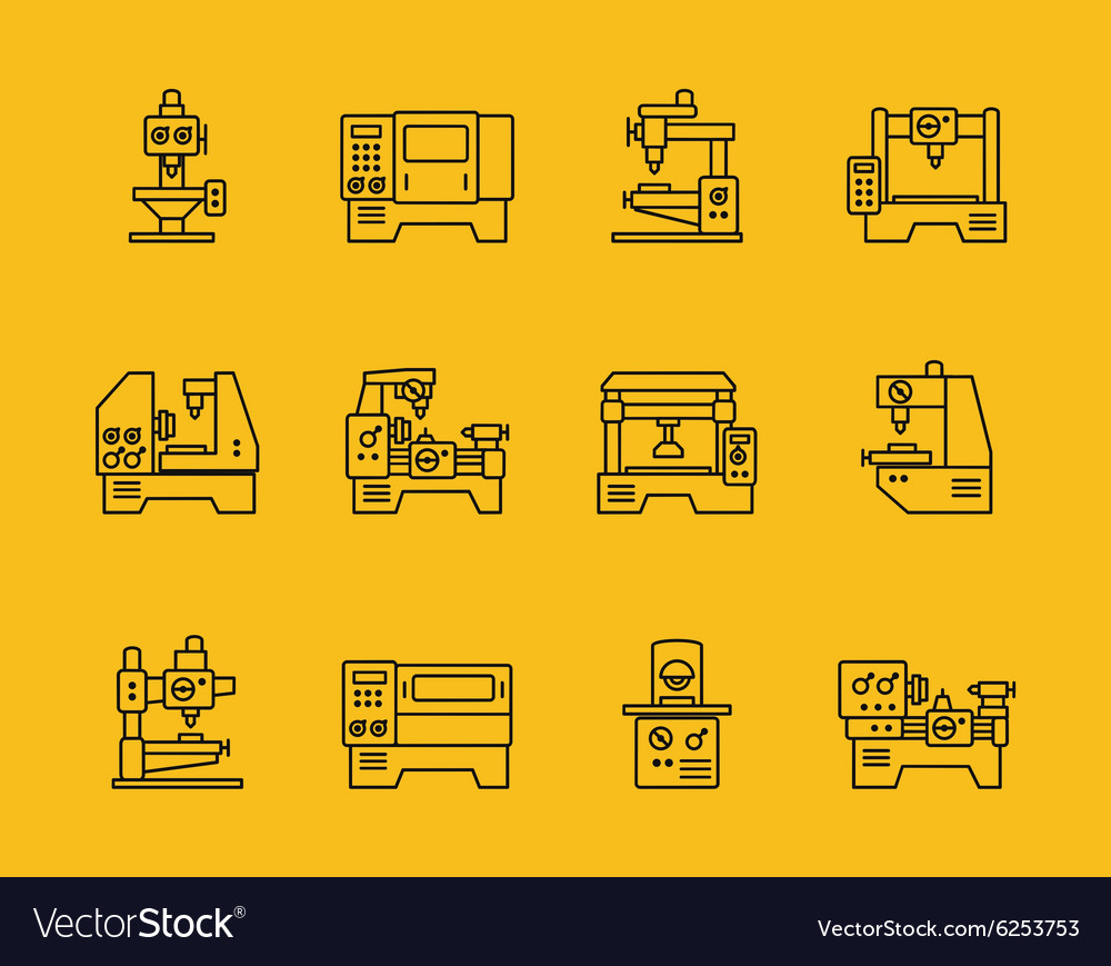 Thin line machine tool icons vector