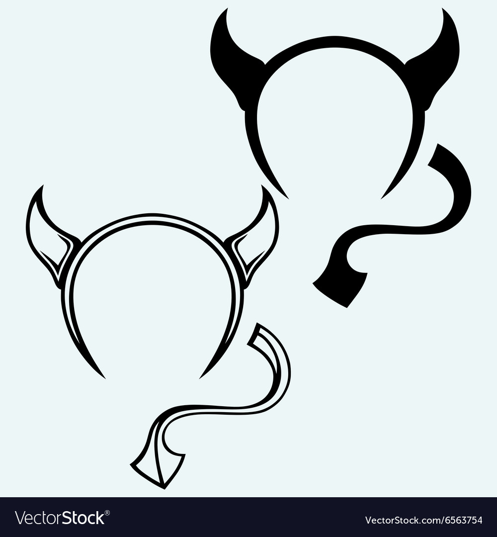 Devil horns and tail vector