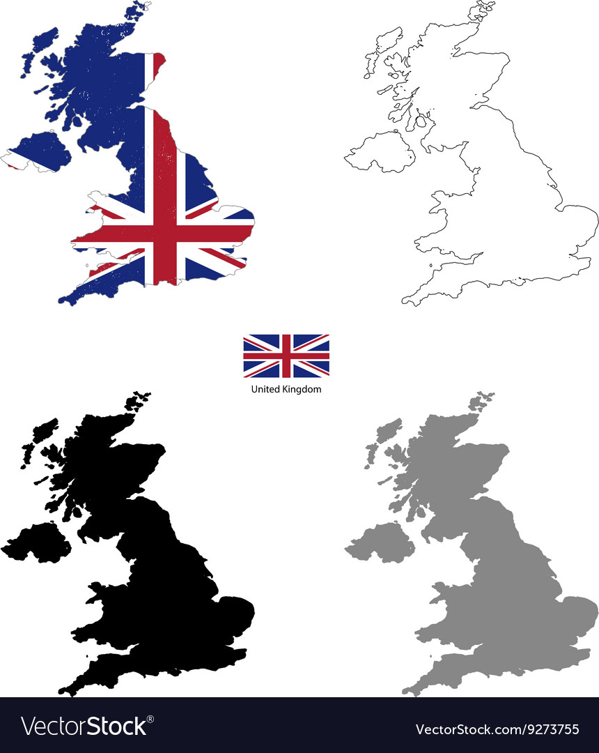 United kingdom country black silhouette and with vector