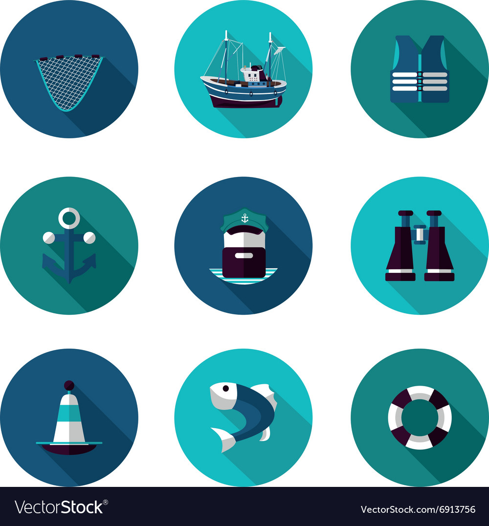 Flat icons set of industrial fishing vector