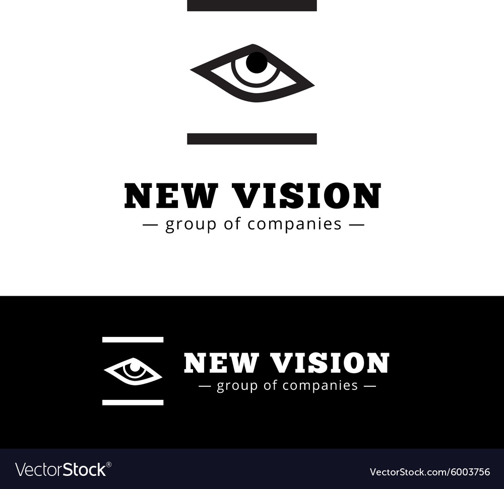 Minimalistic black and white eye logo eye vector