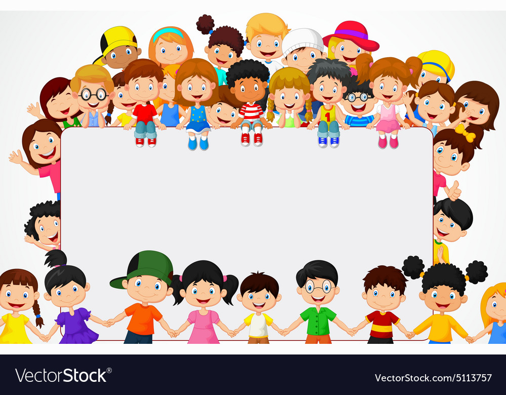 Crowd children with blank sign vector