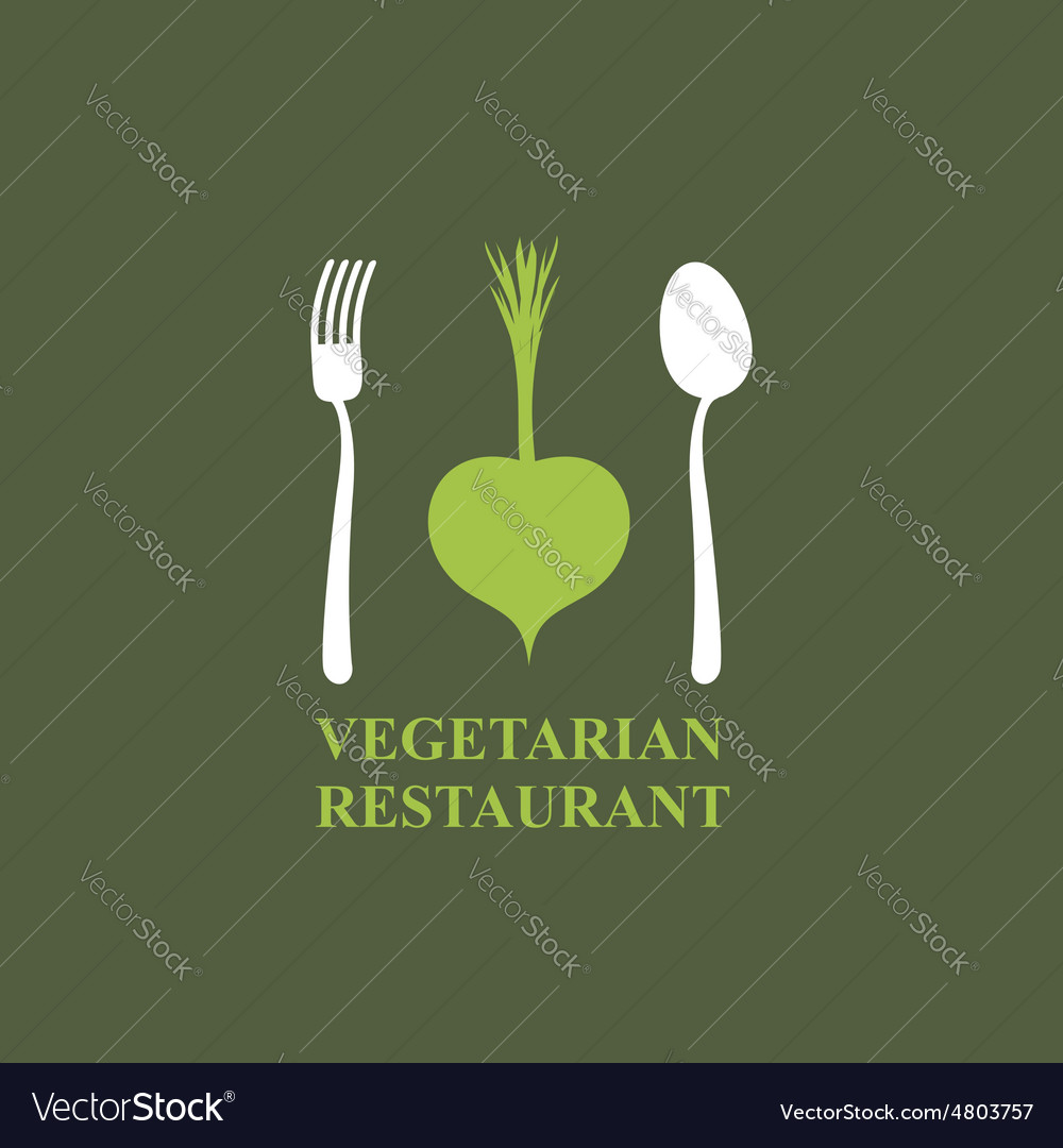 Logo for vegetarian restaurants or cafes cutlery vector