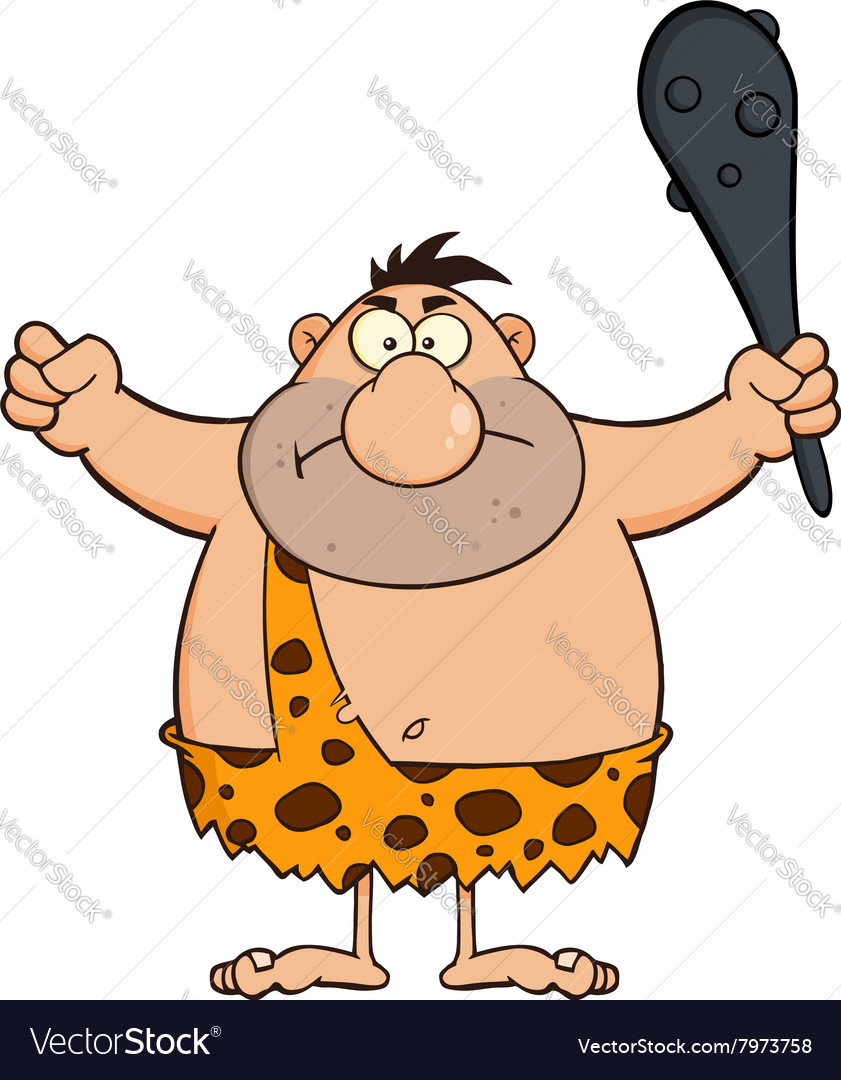 Angry caveman cartoon vector
