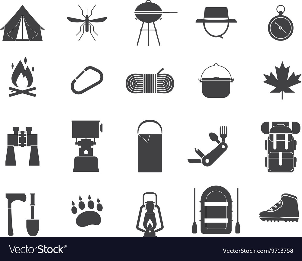 Camping and hiking icons vector