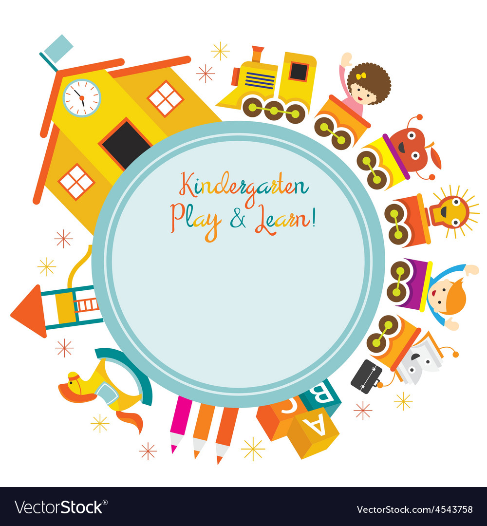 Kindergarten train kids round frame vector