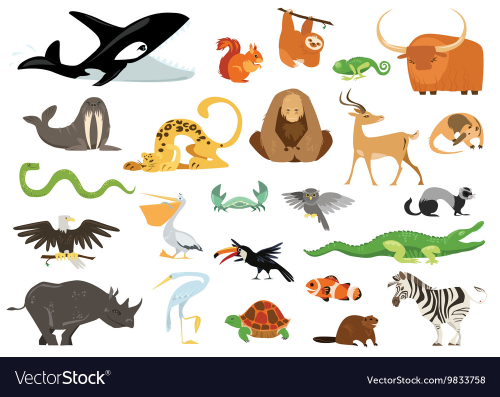 Set of cute cartoon animals snakes birds fishes vector