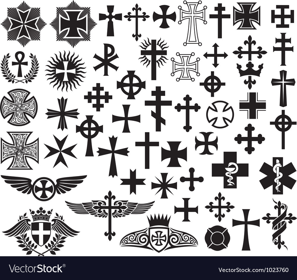 Big collection of crosses vector