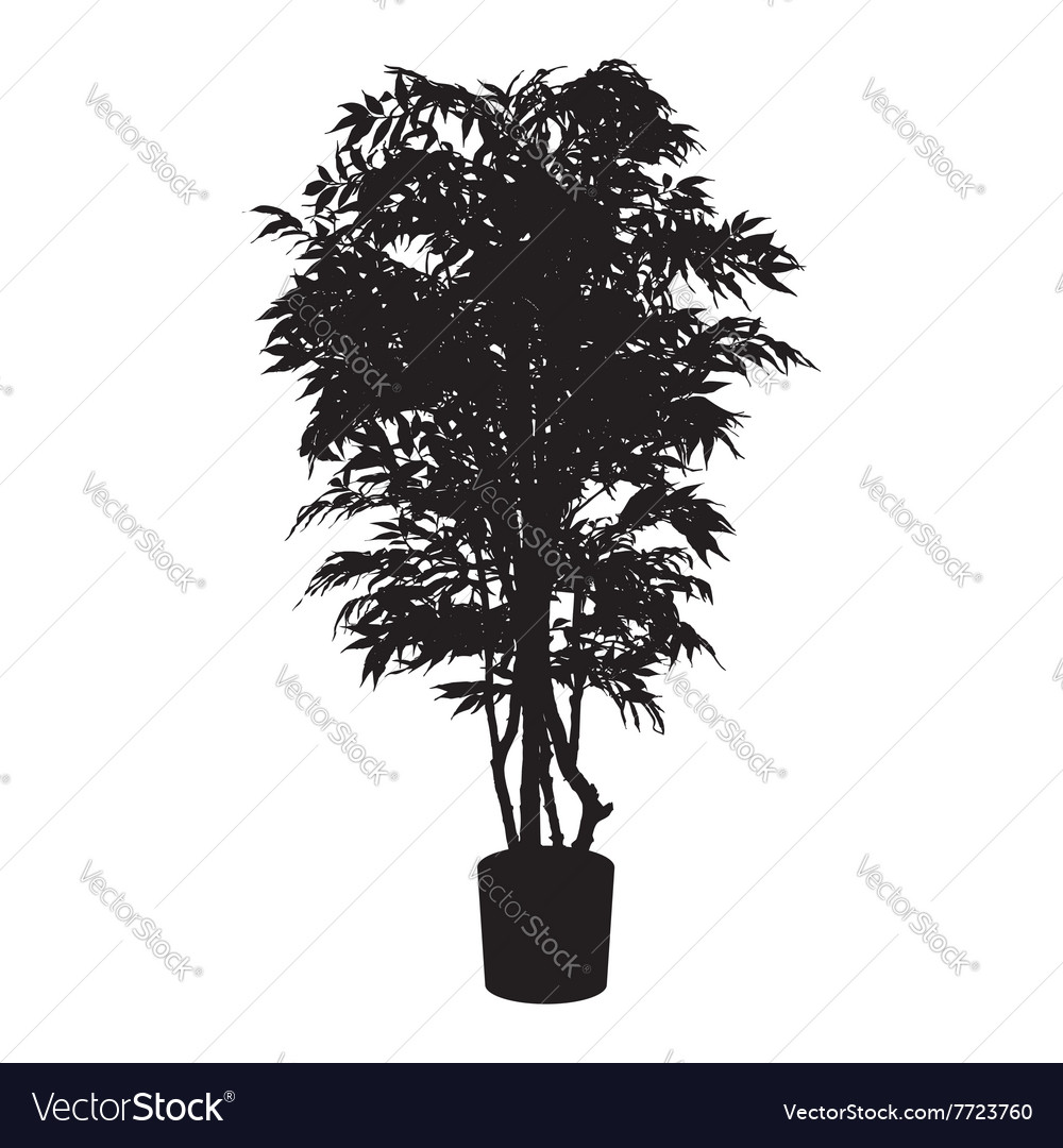 Office and house plant silhouette vector
