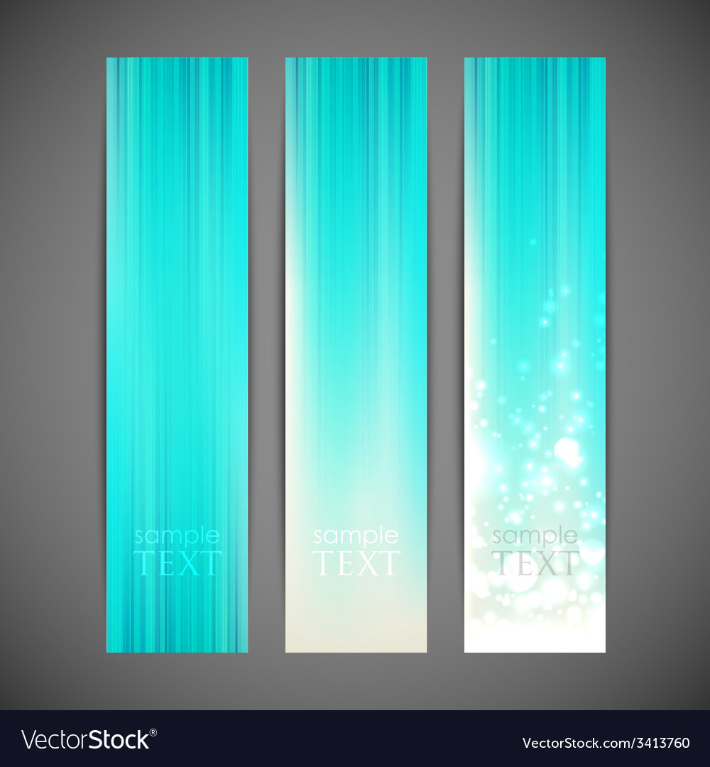 Set of turquoise striped banners vector