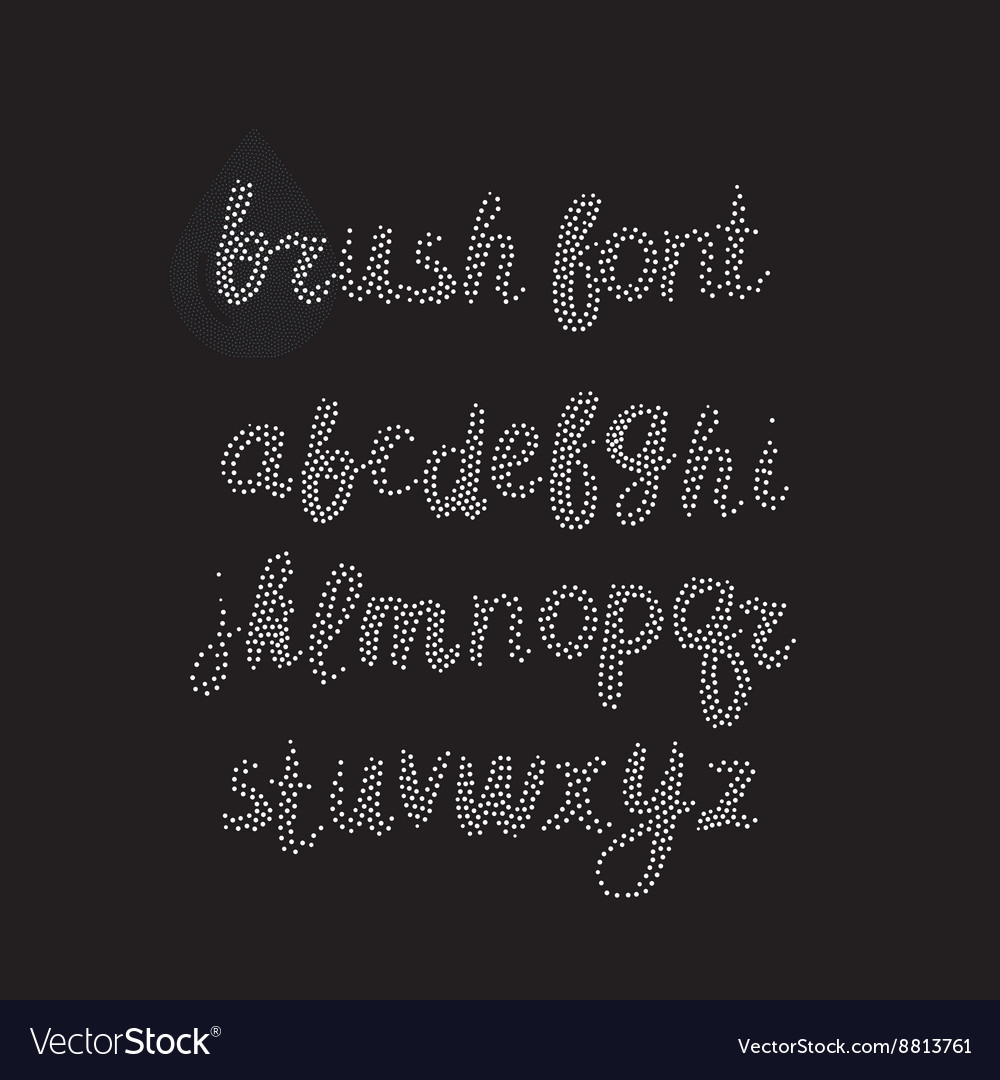 Handwritten brush alphabet on white background vector