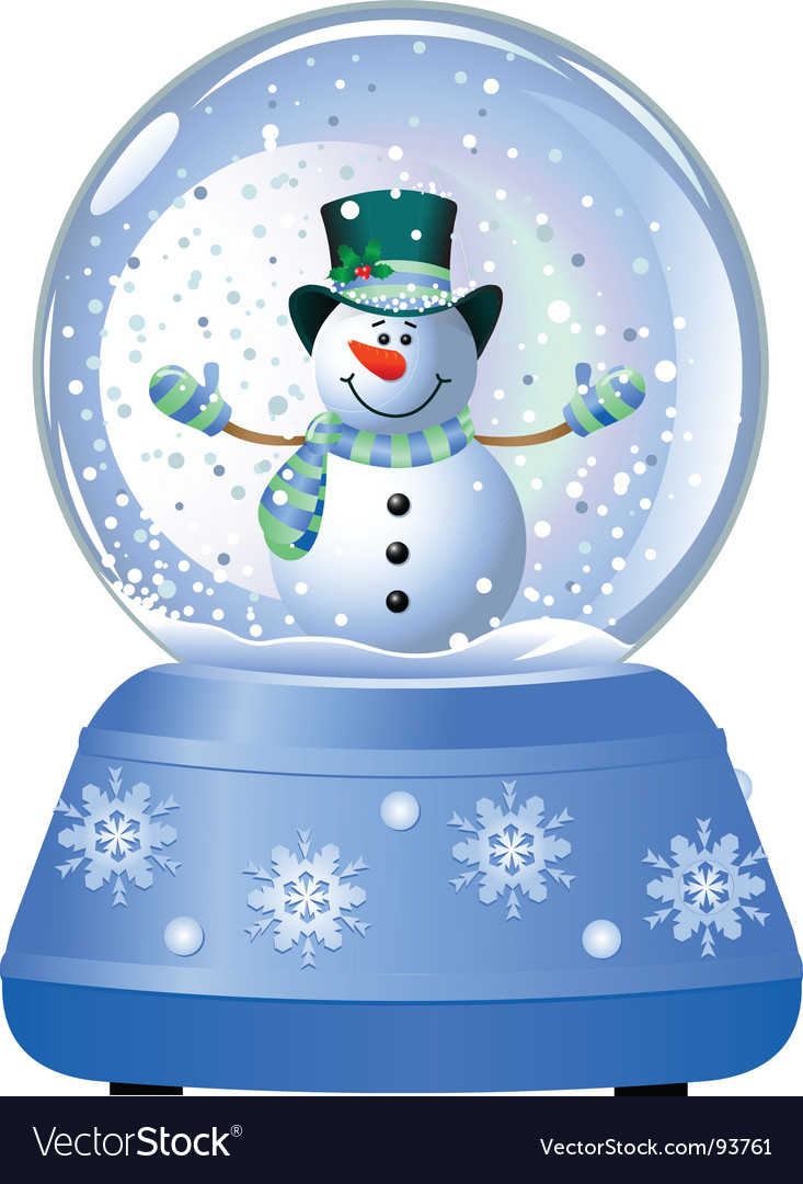 Snowman in snow globe vector
