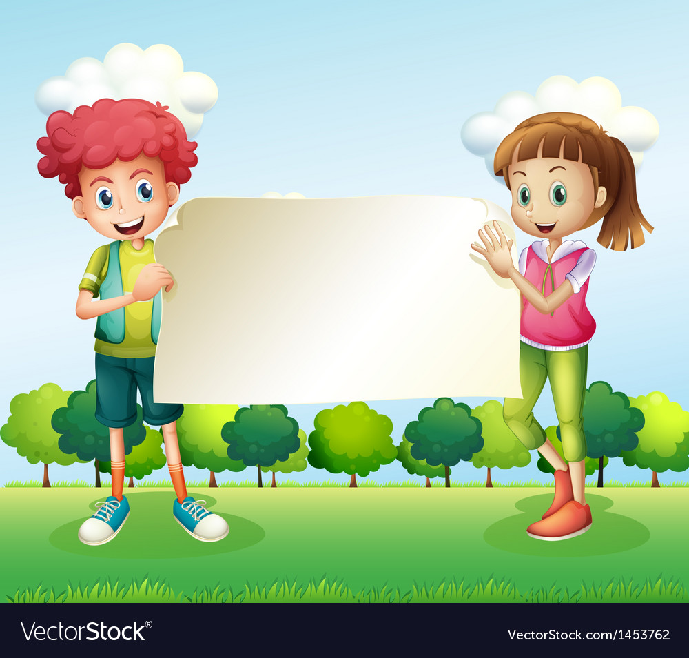 A boy and a girl holding a banner vector