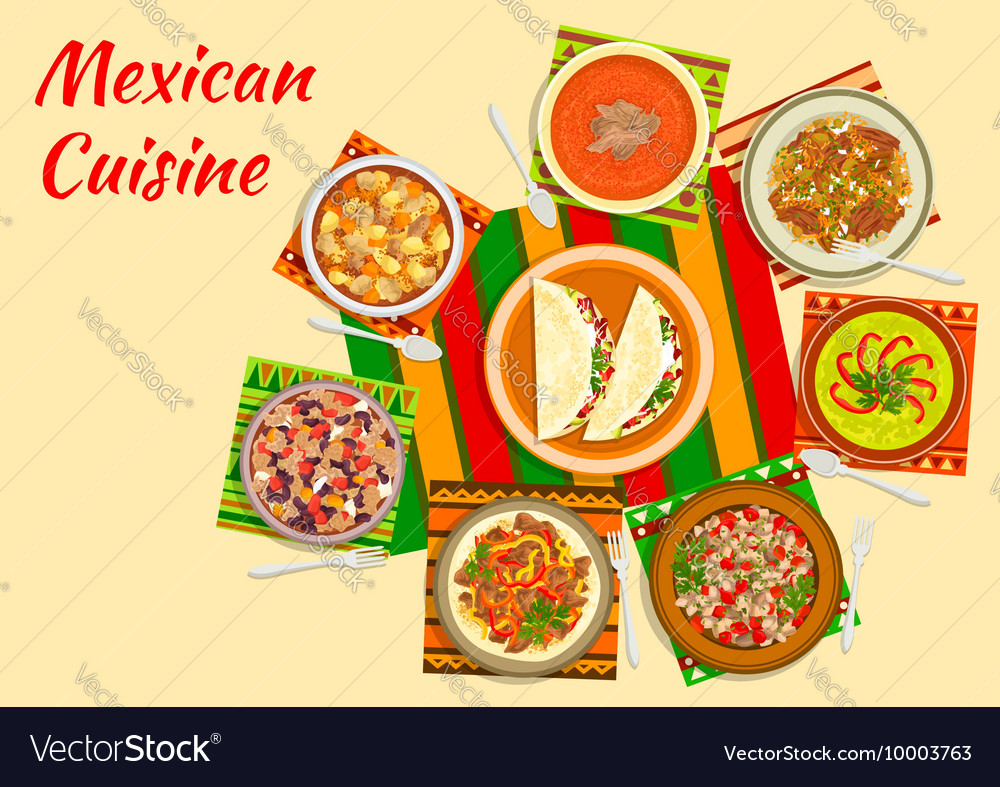 Colorful festive dishes of mexican cuisine symbol vector