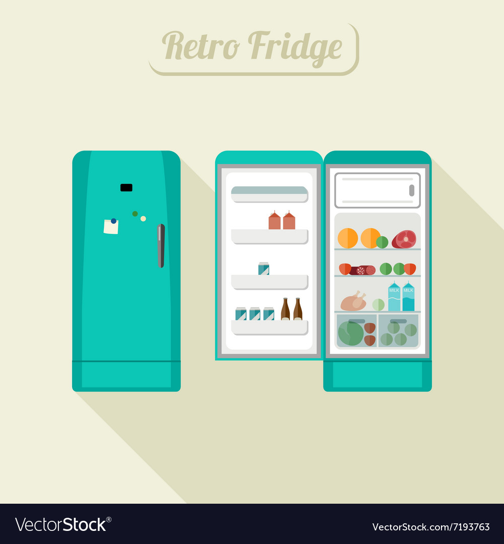 Fridge closed and open vector