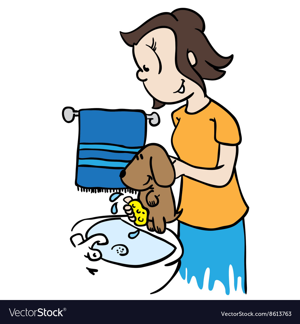 Mom washing a dog vector