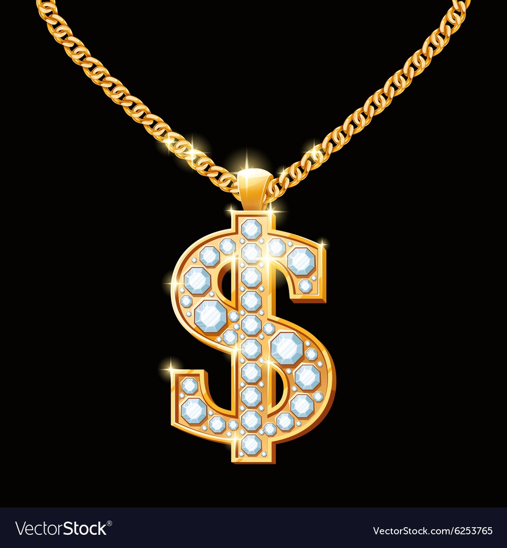 Dollar sign with diamonds on gold chain hiphop vector