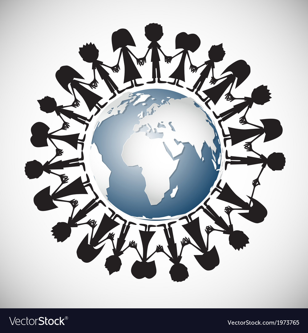 People holding hands around globe vector