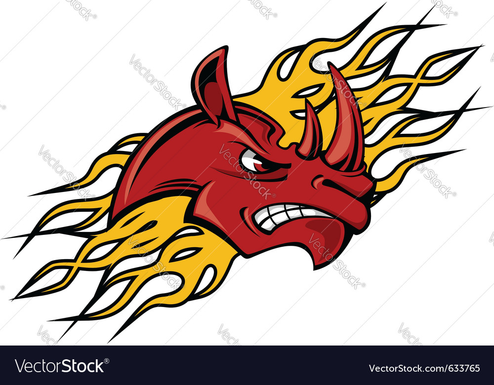 Rhino head with fire flames for tattoo design vector