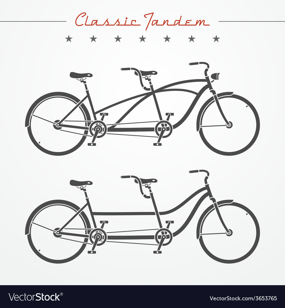 Tandem bicycle vector