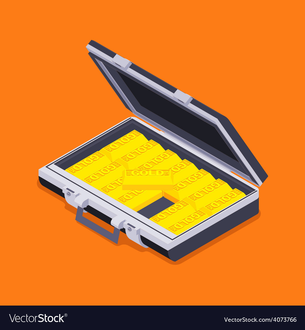 Isometric open briefcase with the golden bars vector