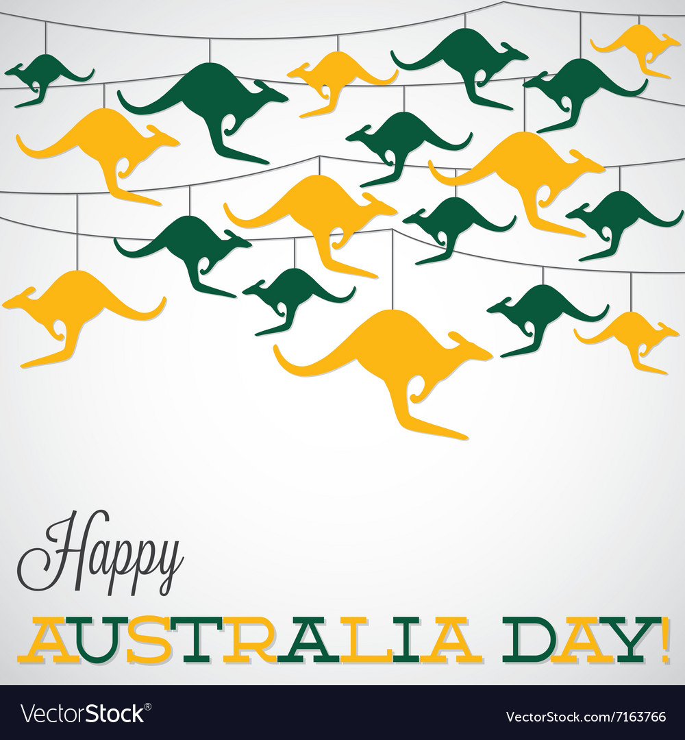 Kangaroo ornament australia day card in format vector