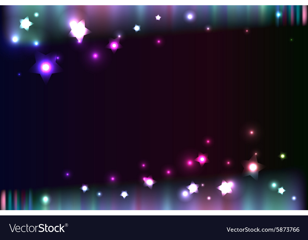 Shiny aurora light in night abstract background vector