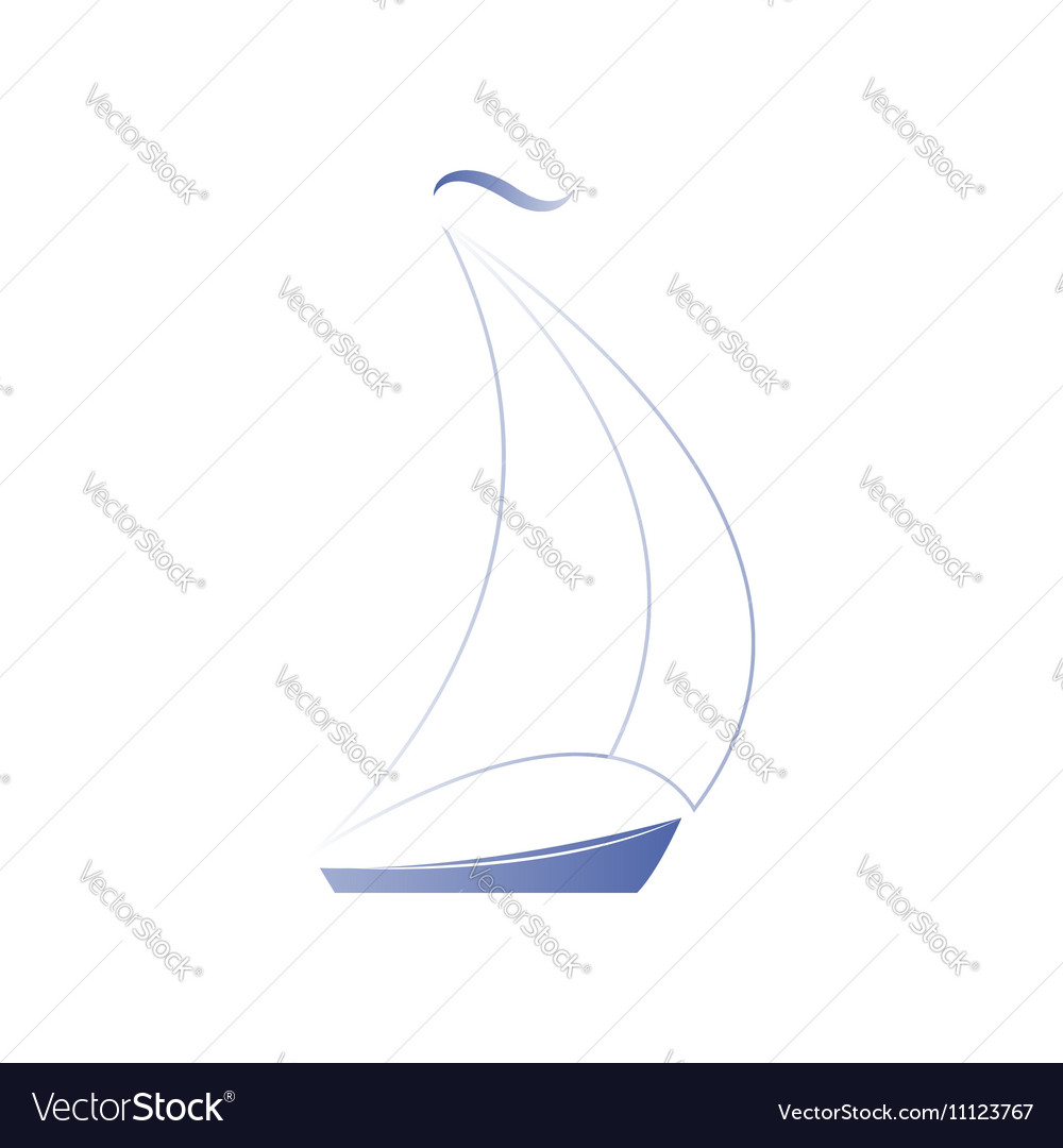 Silhouette of a sailboat on a white background vector