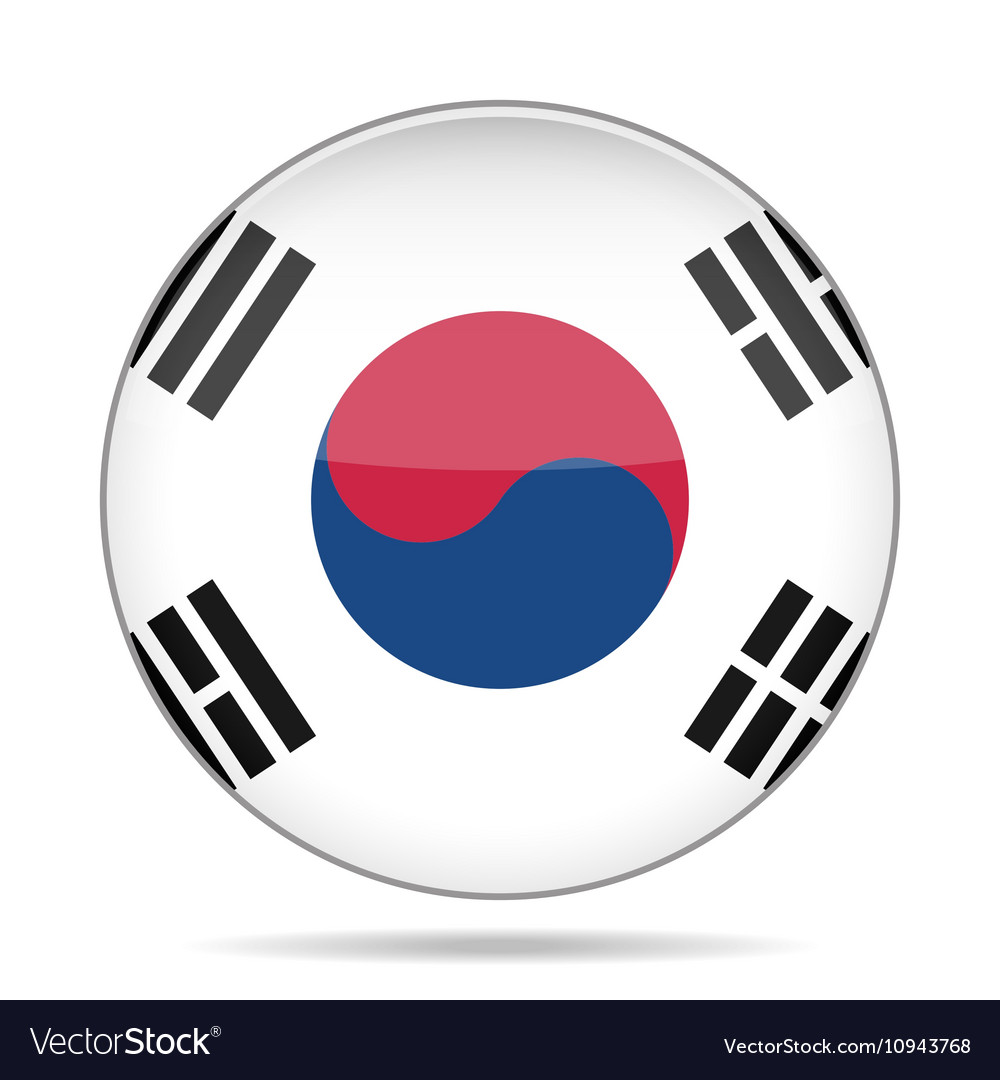 Button with flag of south korea vector