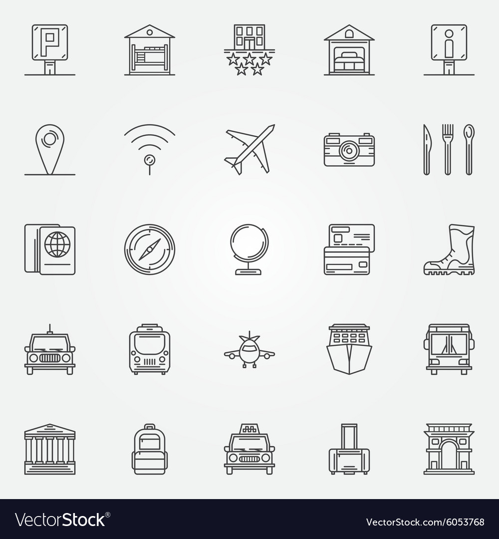 Travel linear icons set vector