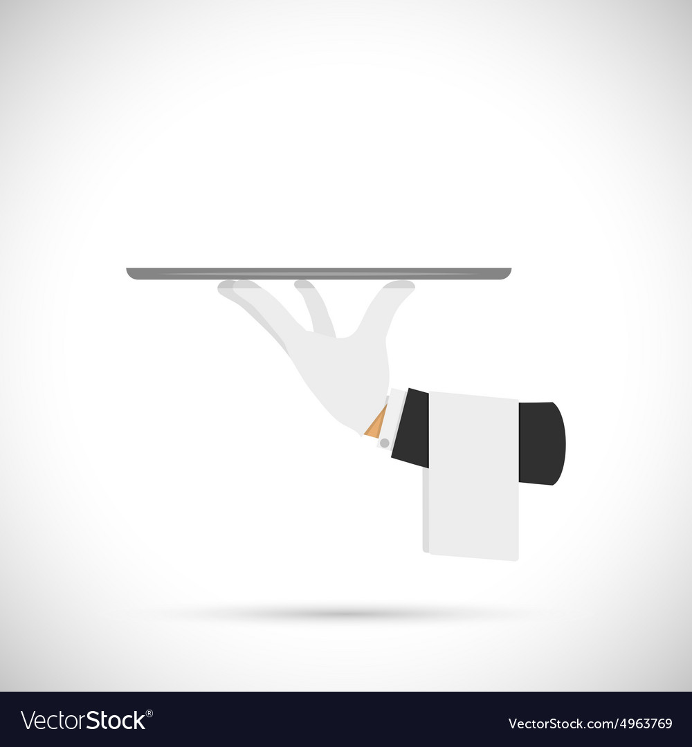 Waiter hand with tray and towel vector