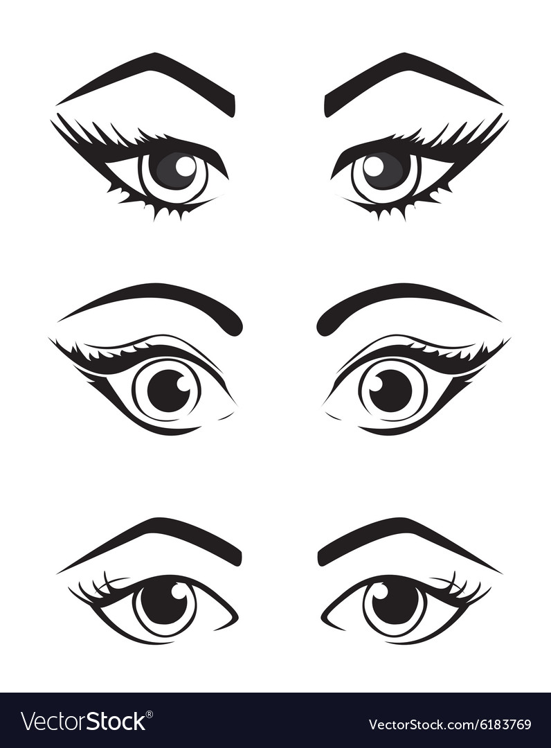 Woman eyes collection vector
