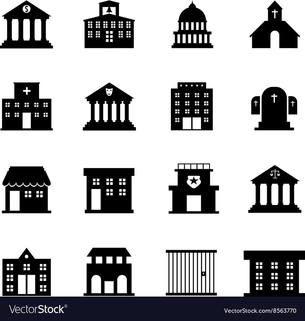 Government and public building icons vector