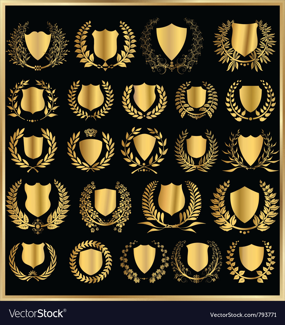 Golden shields and laurel wreaths collection vector