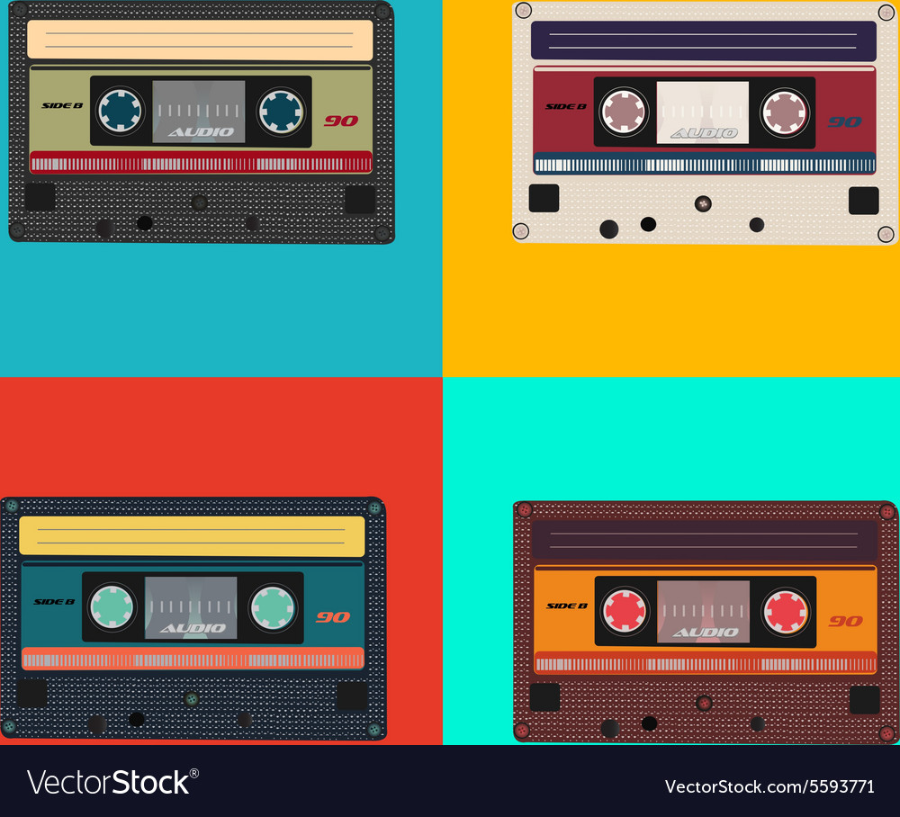 Realistic of colorful radio cassettes vector
