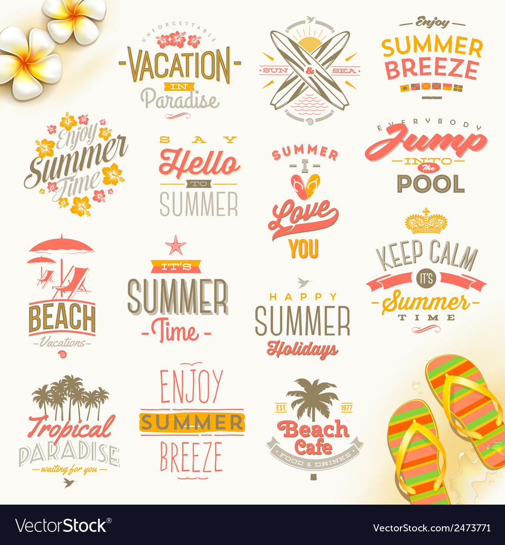 Set of summer holdays vacation and travel type vector