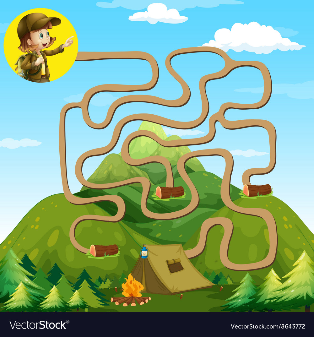 Game template with girl and camping site vector