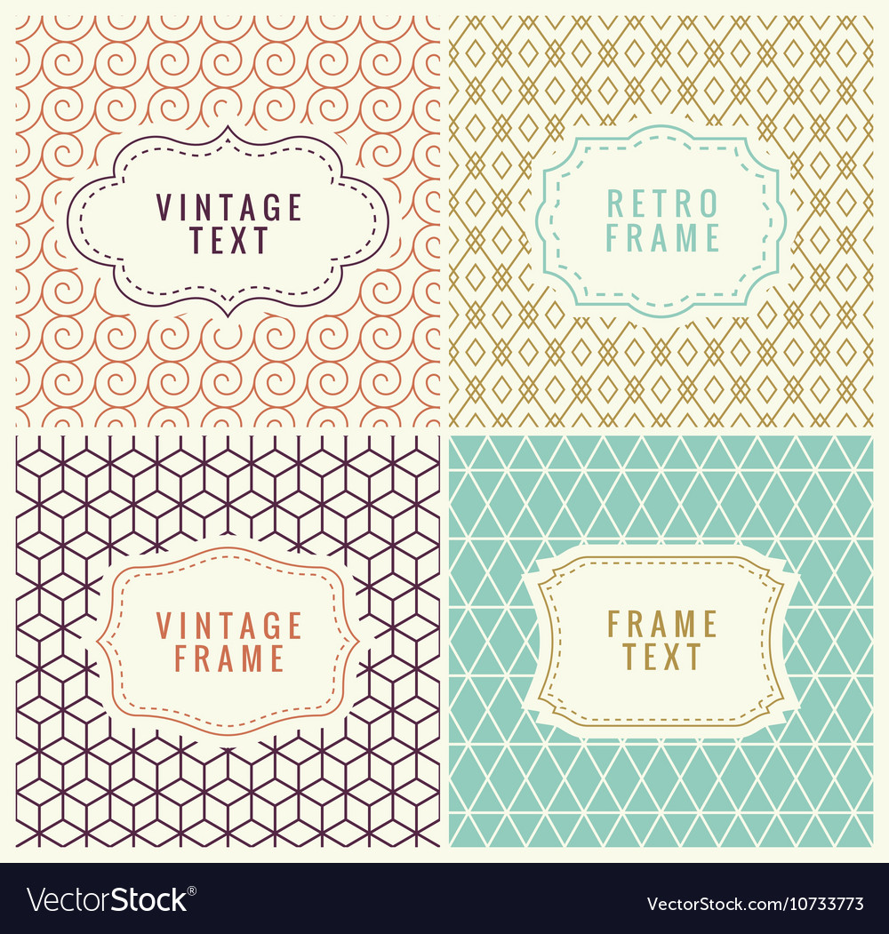 Minimal background retro mono line frames with vector