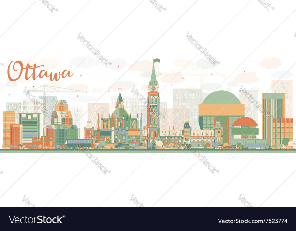 Abstract ottawa skyline with color buildings vector