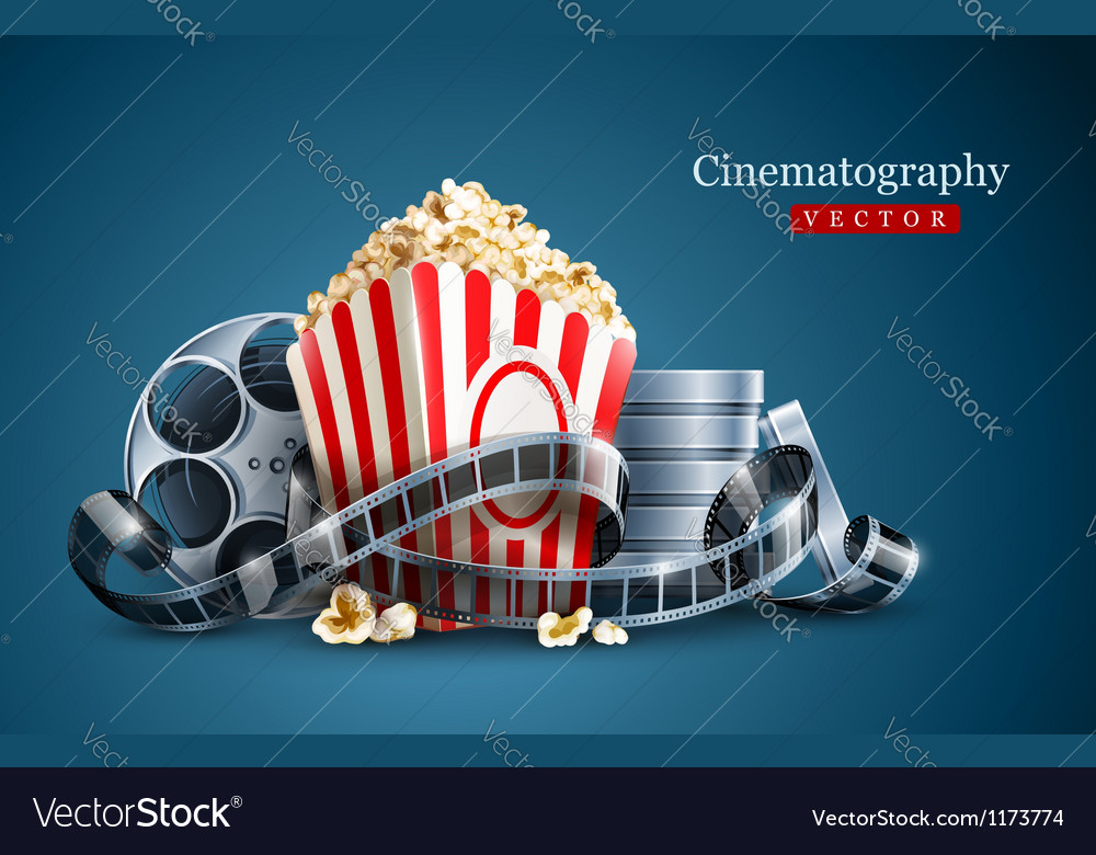 Movie film reel and popcorn vector